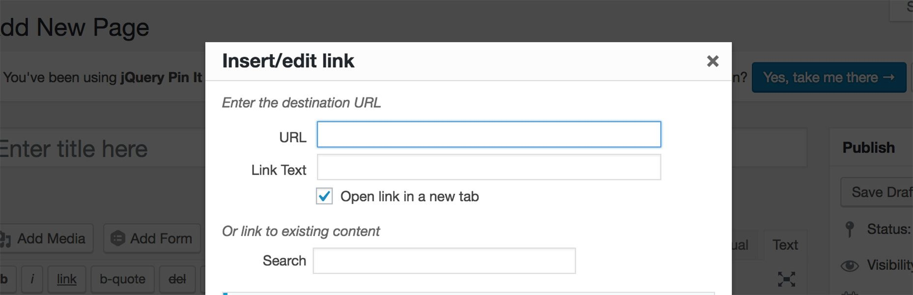 Featured Image WordPress Content Editor Default Links To New Tab/Window