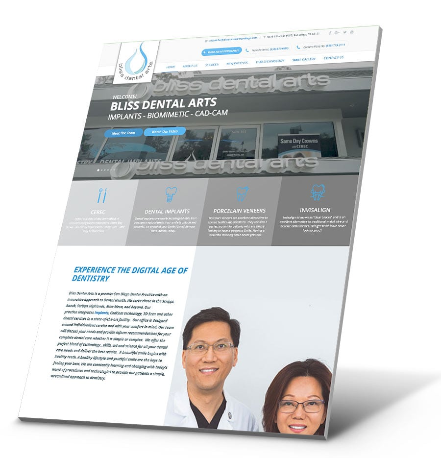 Bliss Dental Arts San Diego WordPress Website Design