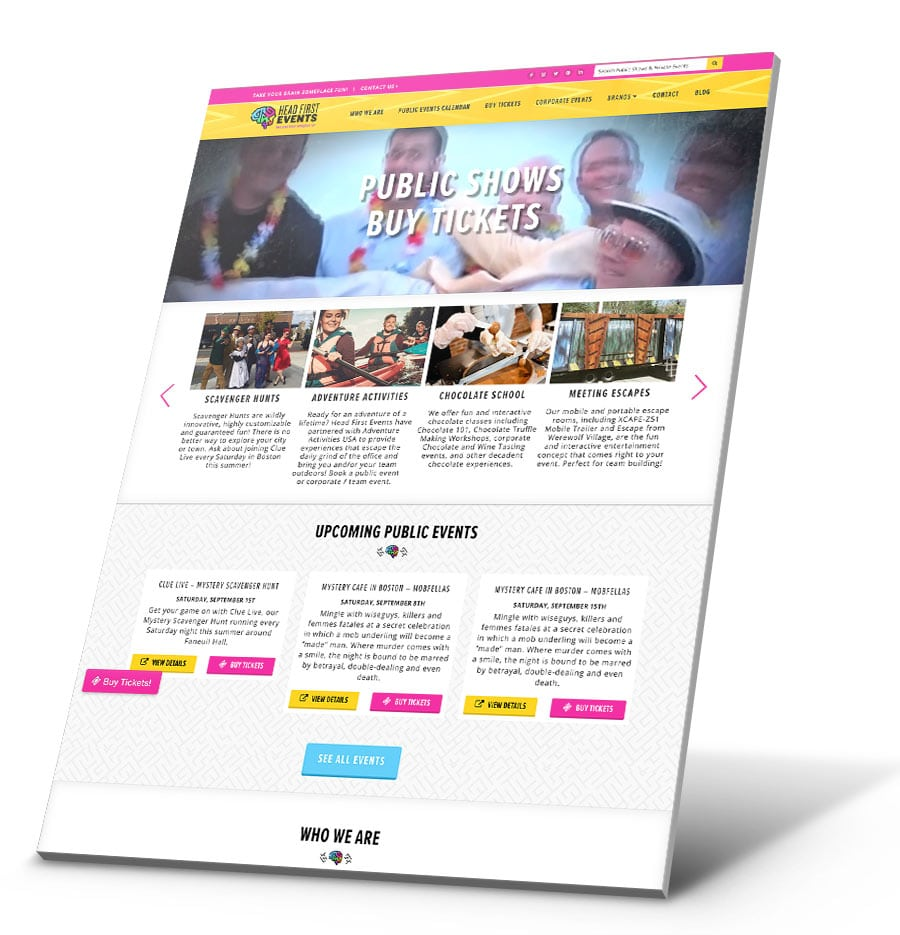Head First Events WordPress Website Design