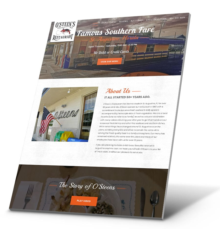O'Steen's Restaurant WordPress Website Design